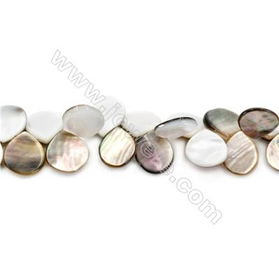 Natural Grey Mother Of Pearl Beads Strand, Flat Teardrop, Size 15x16mm, Hole 0.8mm, about 61 beads/strand, 15~16""