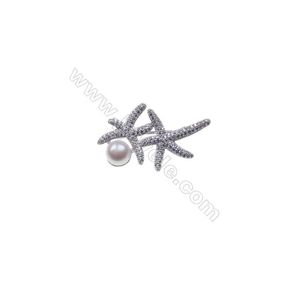 Sterling silver platinum  plated zircon brooch -XZ0004 23x37mm x 5pcs disc diameter 8mm pin diameter 0.7mm
