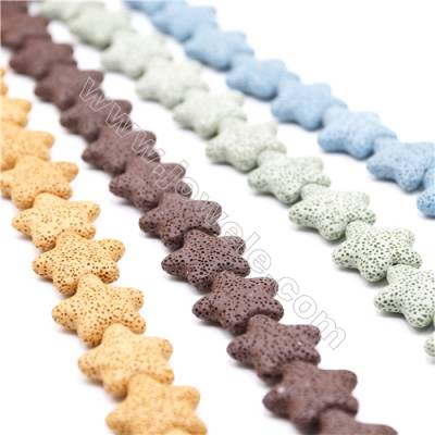 Natural Stone Lava Beads Strand, Star, Size 25x25mm, Hole 1.5mm, about 18 beads/strand 15~16""