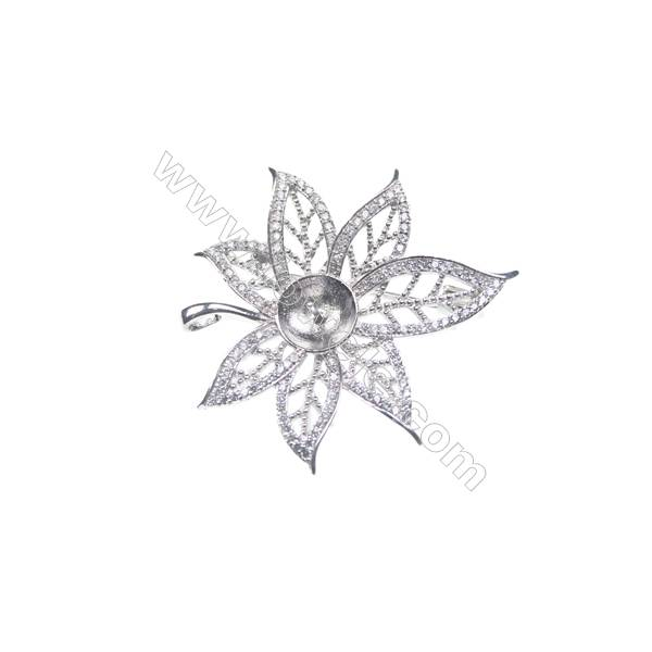 925 sterling silver zircon platinum plated zircon brooch, 39x36mm, x 5pcs, tray 9mm, needle 0.7mm
