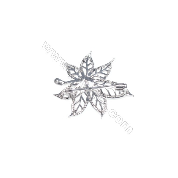 925 sterling silver zircon platinum plated zircon brooch -XZ0005 39x36mm x 5pcs disc diameter 9mm small needle diameter 0.7mm