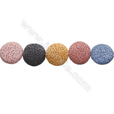 Natural Stone Mix Color Lava Beads Strand, Flat Round, Diameter 20mm, Hole 1mm, about 19 beads/strand 15~16""