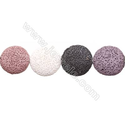 Natural Stone Mix Color Lava Beads Strand, Flat Round, Diameter 25mm, Hole 1.5mm, about 14 beads/strand, 15~16""