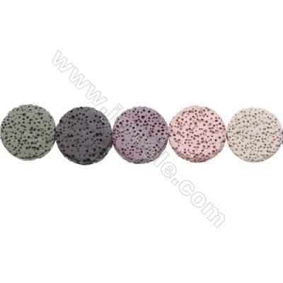 Natural Stone Mix Color Lava Beads Strand, Flat Round, Diameter 20mm, Hole 1mm, about 19 beads/strand, 15~16""