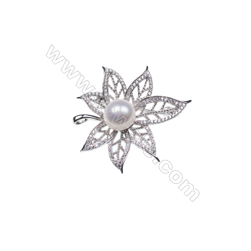 925 sterling silver zircon platinum plated zircon brooch -XZ0005 39x36mm x 5pcs disc diameter 9mm small needle diameter 0.7mm