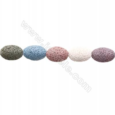 Natural Stone Mix Color Lava Beads Strand, Oval, Size 15x22mm, Hole 1.5mm, about 18 beads/strand 15~16""