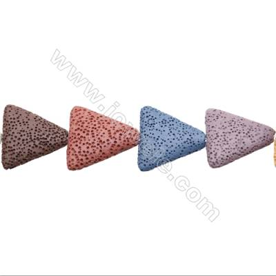 Natural Stone Mix Color Lava Beads Strand, Triangle, 25x25mm, Hole 1.5mm, about 15 beads/strand, 15~16""
