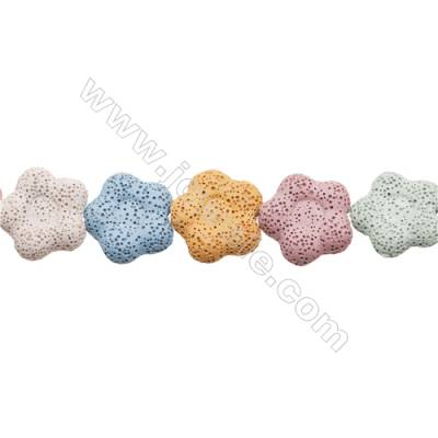 Natural Stone Mix Color Lava Beads Strand, Flower, Size 27x27mm, Hole 1.5mm, about 15 beads/strand, 15~16""