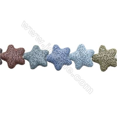 Natural Stone Mix Color Lava Beads Strand, Star, Size 25x25mm, Hole 1.5mm, about 18 beads/strand 15~16""