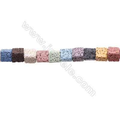 Natural Stone Mix Color Lava Beads Strand, Cube, Size 10x10mm, Hole 2mm, about 37 beads/strand, 15~16""