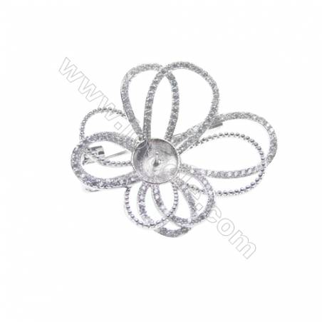 925 Sterling silver platinum plated CZ brooch, 35x40mm, x 5 pcs, tray 8mm, needle 0.7mm