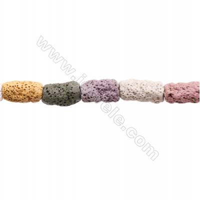 Natural Stone Mix Color Lava Beads Strand, Irregular Column, Size 10x20mm, Hole 2mm, about 20 beads/strand, 15~16""