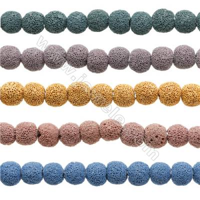 Natural Stone Frosted Lava Beads Strand, Round, Diameter 8mm, Hole 1mm, about 51 beads/strand, 15~16""