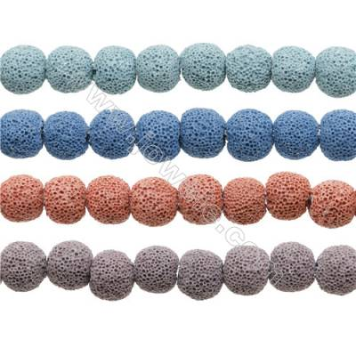 Natural Stone Frosted Lava Beads Strand, Round, Diameter 12mm, Hole 1.5mm, about 34 beads/strand, 15~16""