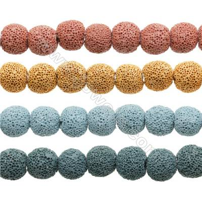 Natural Stone Frosted Lava Beads Strand, Round, Diameter 14mm, Hole 1.5mm, about 29 beads/strand, 15~16""
