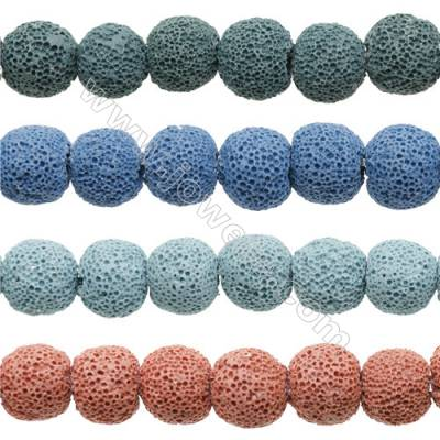 Natural Stone Frosted Lava Beads Strand, Round, Diameter 16mm, Hole 1.5mm, about 26 beads/strand 15~16""