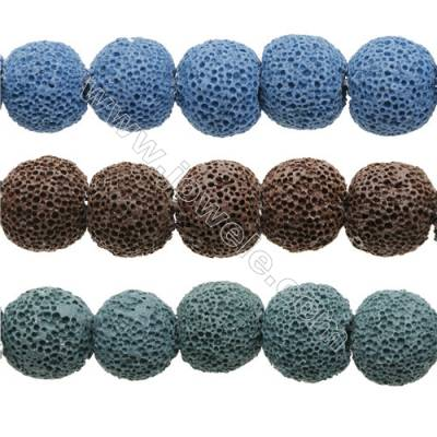 Natural Stone Frosted Lava Beads Strand, Round, Diameter 18mm, Hole 1.5mm, about 23 beads/strand 15~16""