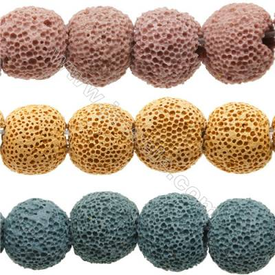Natural Stone Frosted Lava Beads Strand, Round, Diameter 20mm, Hole 1.5mm, about 20 beads/strand 15~16""