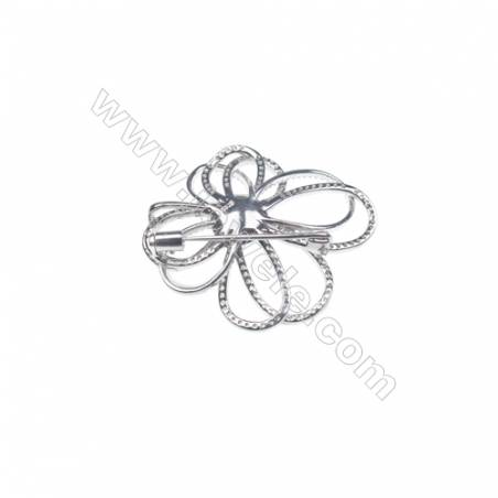 925 Sterling silver platinum plated CZ brooch- XZ0008 35x40mm x 5 pcs disc diameter 8mm small needle diameter 0.7mm