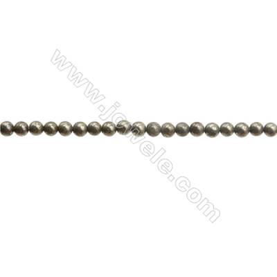 Natural Pyrite Beads Strand  Round   Diameter 2mm  Hole 0.3mm  about 195 beads/strand 15~16""