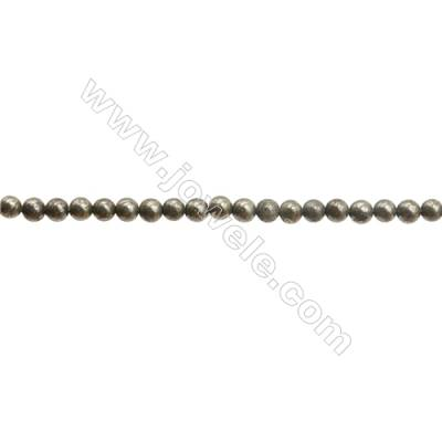Natural Pyrite Beads Strand  Round   Diameter 3mm  Hole 0.6mm  about 127 beads/strand 15~16""