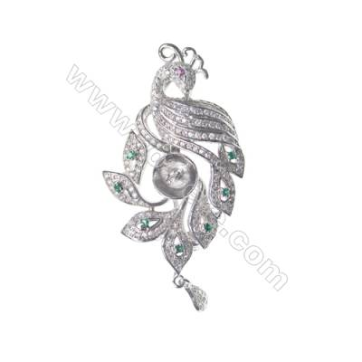925 Sterling silver  zircon brooch platinum plated, 24x38mm, x 5pcs, tray 7mm, needle 0.9mm