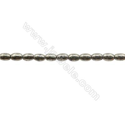 Natural Pyrite Beads Strand  Rice   Size 4x6mm  Hole 0.8mm  about 62 beads/strand 15~16""