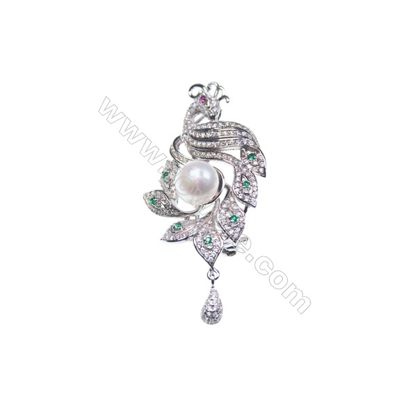 925 Sterling silver  zircon brooch platinum plated -XZ0012 24x38mm x 5pcs disc diameter 7mm small needle diameter 0.9mm