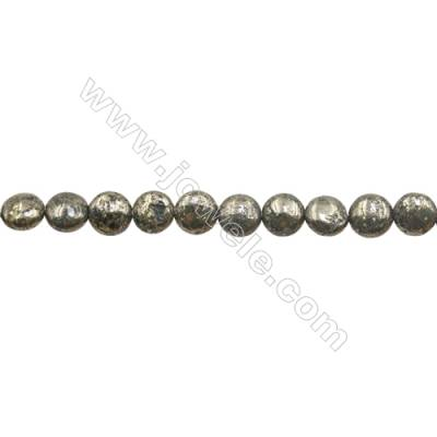 Natural Pyrite Beads Strand  Flat Round   Diameter 8mm  Hole 0.8mm  about 48 beads/strand 15~16""