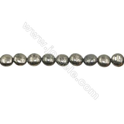 Natural Pyrite Beads Strand  Flat Round   Diameter 10mm  Hole 1mm  about 40 beads/strand 15~16""
