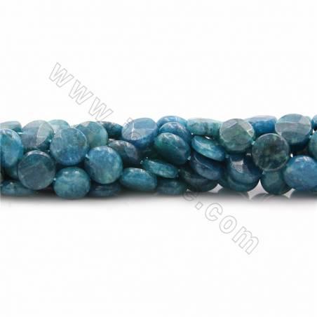 """Natural Apatite Beads Strands, Flat Round (faceted), Diameter 10~12mm, Thick 4mm, Hole 0.7~1mm, 15~16""""/strand"""