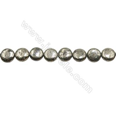 """Natural Pyrite Beads Strand  Flat Round   Diameter 12mm  Hole 1mm  about 33 beads/strand 15~16"""""""