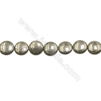 Natural Pyrite Beads Strand  Flat Round   Diameter 14mm  Hole 1mm  about 28 beads/strand 15~16""