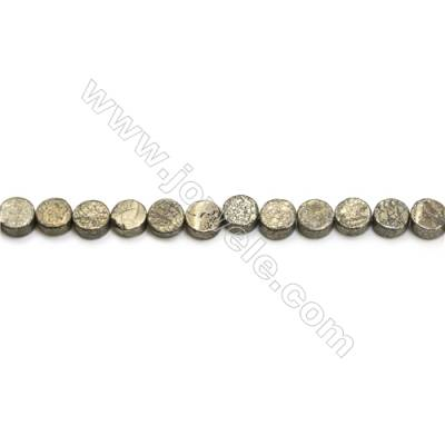 Natural Pyrite Beads Strand  Flat Round   Diameter 6mm  Hole 0.5mm  about 62 beads/strand 15~16""