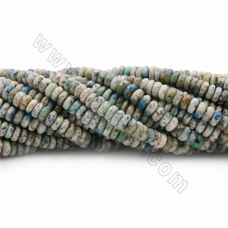 """Natural K2 Jasper Beads Strands, Abacus, Size 3x6~4x8mm, Hole 0.7mm, 15~16""""/strand"""
