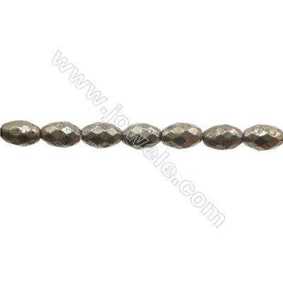 """Natural Pyrite Beads Strand  Faceted Rice   Size 8x12mm  Hole 1mm  about 32 beads/strand 15~16"""""""