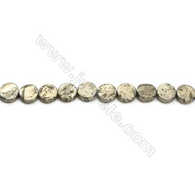 Natural Pyrite Beads Strand  Flat Round   Diameter 8mm  Hole 0.8mm  about 49 beads/strand 15~16""