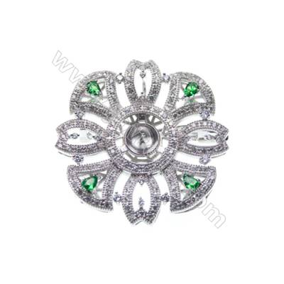 Sterling silver platinum plated CZ brooches, 39x39mm, x 2pcs, tray 7mm, needle 0.8mm
