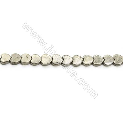 Natural Pyrite Beads Strand  Heart   Size 8x8mm  Hole 1mm  about 54 beads/strand 15~16""