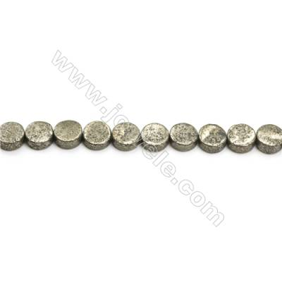 Natural Pyrite Beads Strand  Flat Round   Diameter 10mm  Hole 1mm  about 39 beads/strand 15~16""