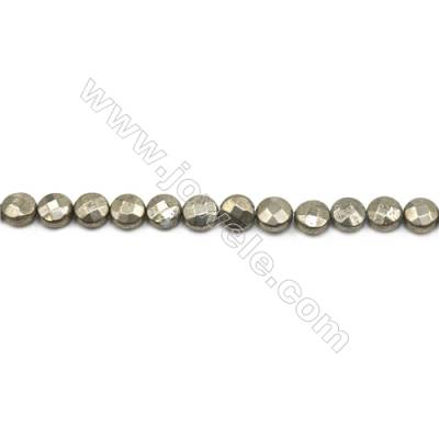 Natural Pyrite Beads Strand  Faceted Flat Round   Diameter 8mm  Hole 0.8mm  about 48 beads/strand 15~16""