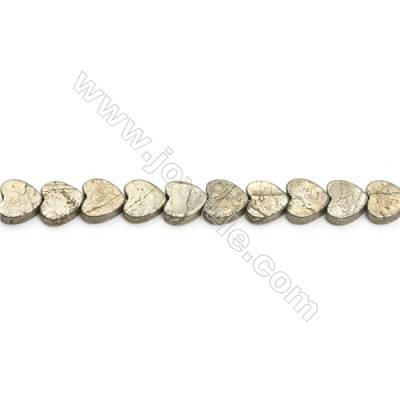 Natural Pyrite Beads Strand  Heart   Size 10x10mm  Hole 1mm  about 45 beads/strand 15~16""