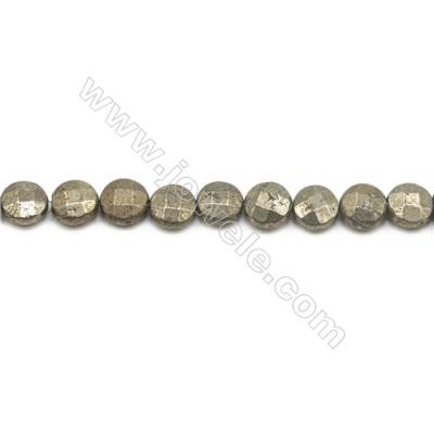 Natural Pyrite Beads Strand  Faceted Flat Round   Diameter 10mm  Hole 1mm  about 41 beads/strand 15~16""