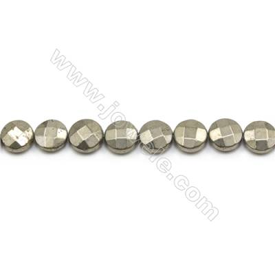 Natural Pyrite Beads Strand  Faceted Flat Round   Diameter 12mm  Hole 1mm  about 32 beads/strand 15~16""
