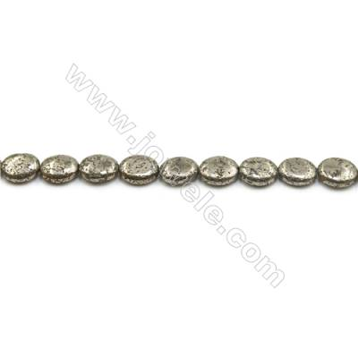 Natural Pyrite Beads Strand  Oval   Size 8x10mm  Hole 0.8mm  about 40 beads/strand 15~16""