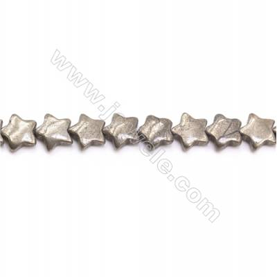 Natural Pyrite Beads Strand  Star   Size 12x12mm  Hole 1mm  about 37 beads/strand 15~16""