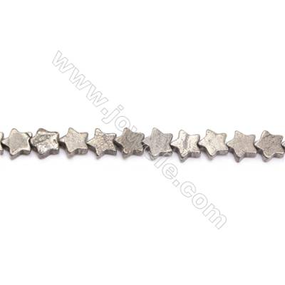 Natural Pyrite Beads Strand  Star   Size 10x10mm  Hole 1mm  about 48 beads/strand 15~16""