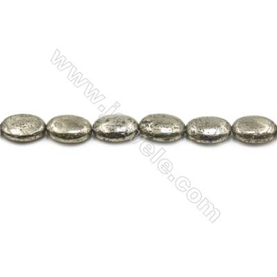 Natural Pyrite Beads Strand  Flat Oval   Size 13x18mm  Hole 1mm  about 22 beads/strand 15~16""