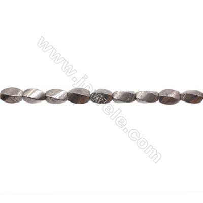 """Natural Pyrite Beads Strand  Twisted   Size 6x10mm  Hole 1mm  about 48 beads/strand 15~16"""""""