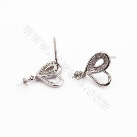 Sterling Silver Butterfly Pinch Bail 18x8mm CZ Plated Findings for Crystals